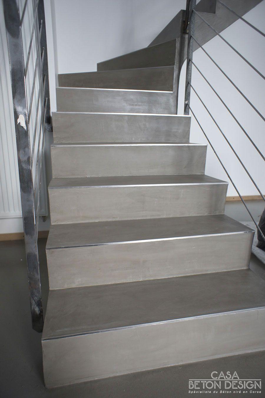 Escalier béton ciré nez de marche inox escalier beton