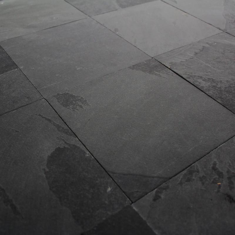 Carrelage ardoise naturelle noire Montauk 20x20 cm