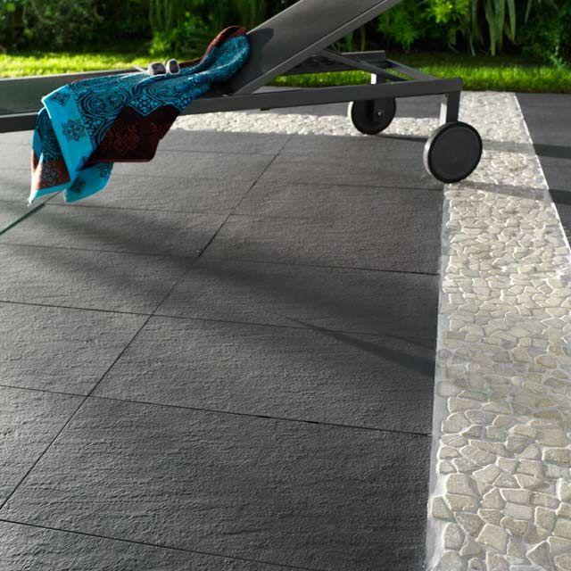 Carrelage terrasse anthracite 30 x 60 cm Lounge