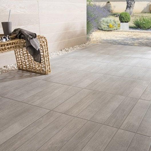 Carrelage sol gris effet bois Jungle l 45 x L 45 cm