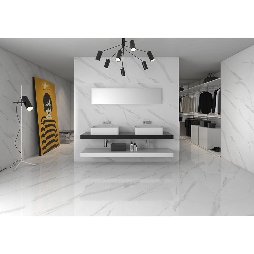 Carrelage grès cérame effet marbre poli blanc Statuary