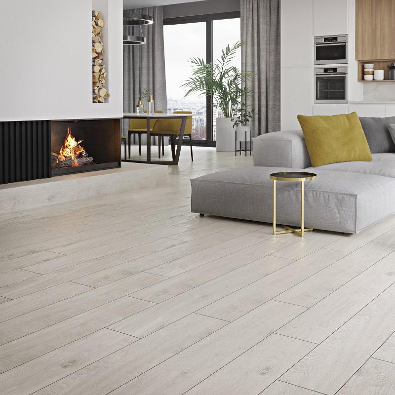 Carrelage aspect parquet en bois mat blanc 20cm x 120cm