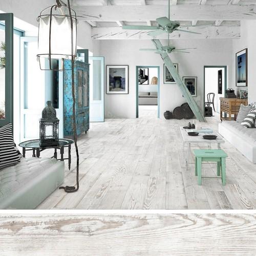 Carrelage imitation parquet VILLAGE Blanc 15x90 cm