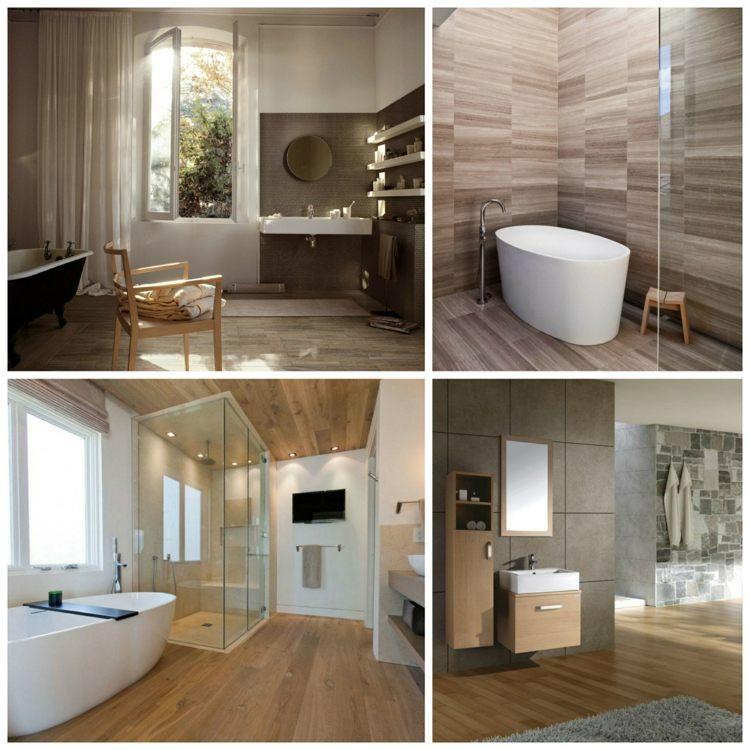 Carrelage salle de bain imitation bois pour un décor