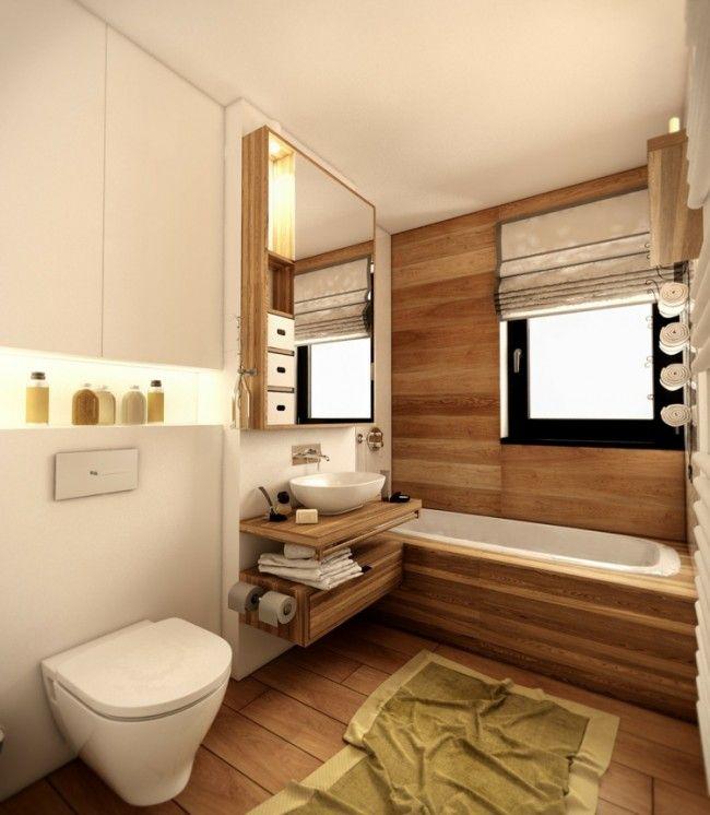 Idée décoration Salle de bain lambris bois tablier de