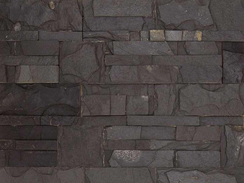 Parement mur pierre naturelle 18x35cm Zeta Noir