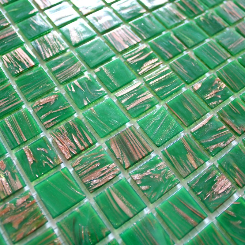 Mosaique pate de verre pas cher vitro vert carrelage inox