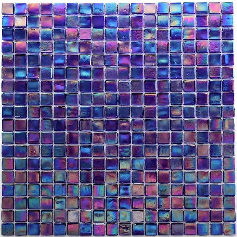 Plaque de mosaique pate de verre modele rainbow petrole