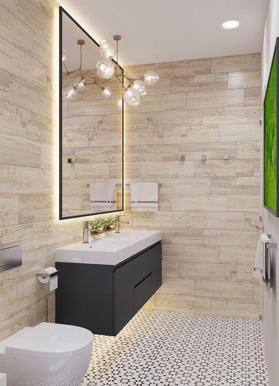 Salle de bain chaleureuse avec meuble blanc et noir