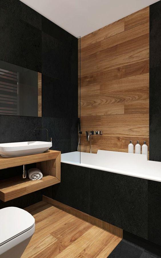 Salle de bain moderne et bois et carrelage noir