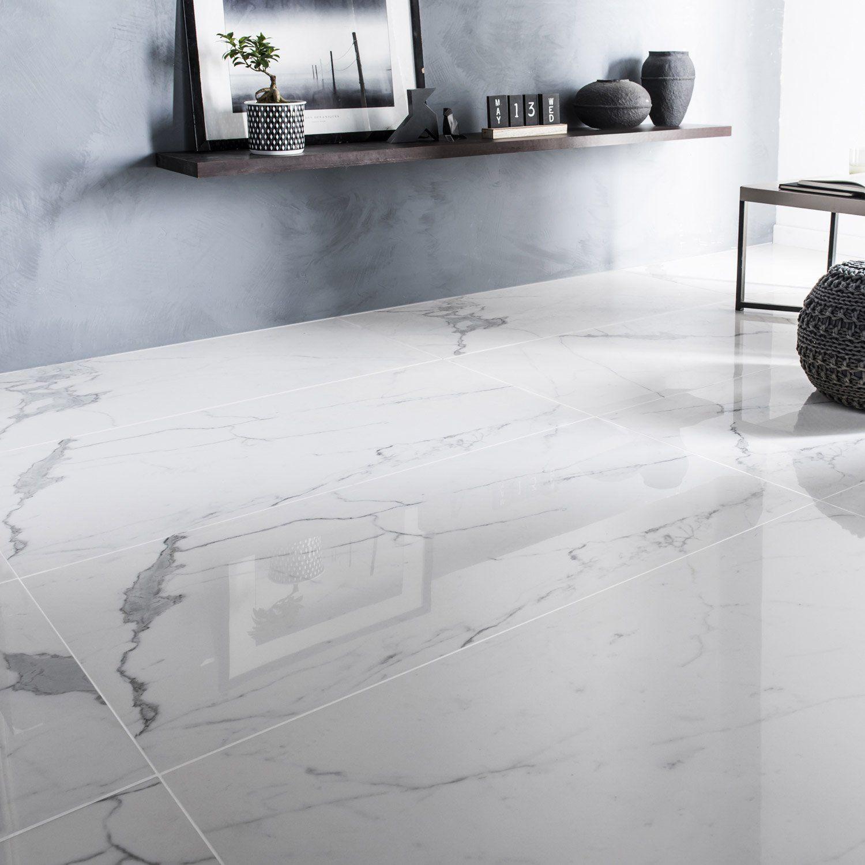 Carrelage sol Blanc Brillant Résistance Aux Rayures Moyenne format Rectangulaire Grand