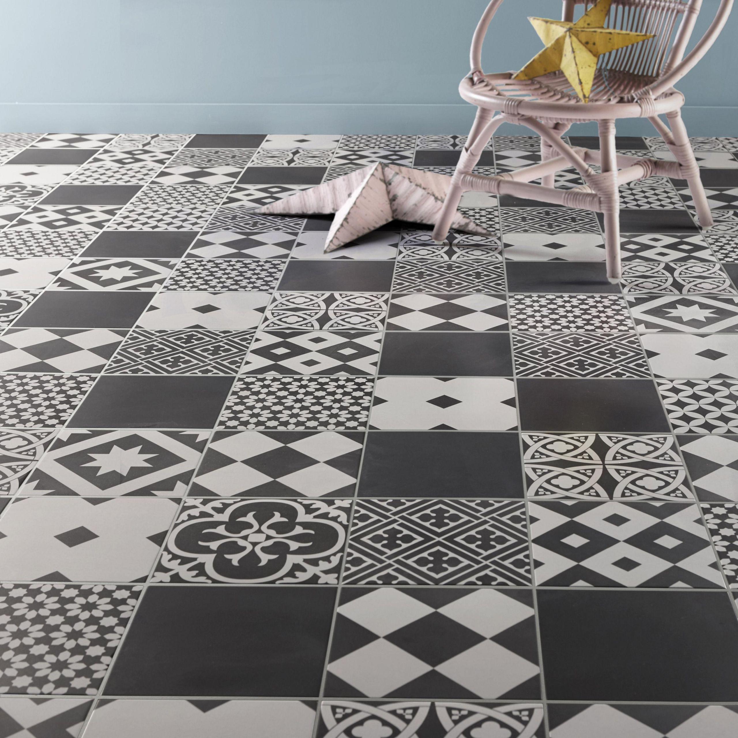 Carrelage sol et mur forte carreau de ciment noir et blanc