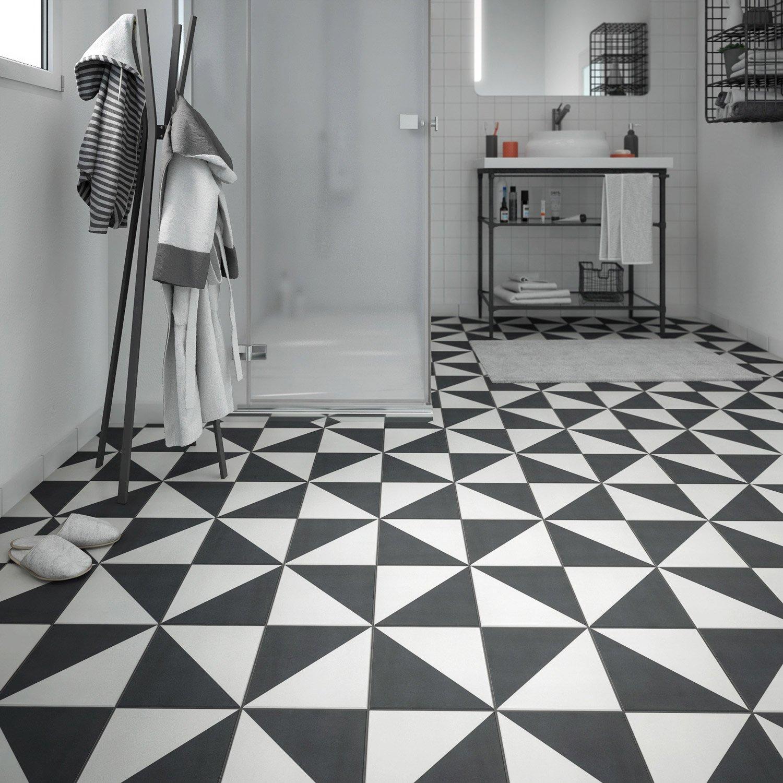 Carrelage sol et mur noir blanc effet ciment Dément l 20 x