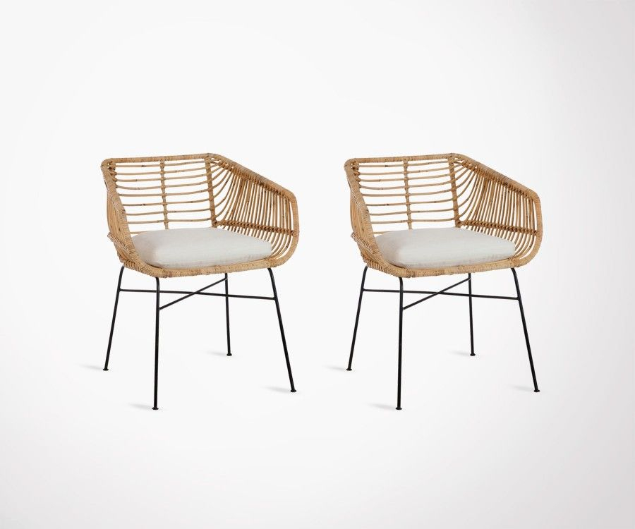 2 chaises extérieur rotin naturel design bohème ethnique
