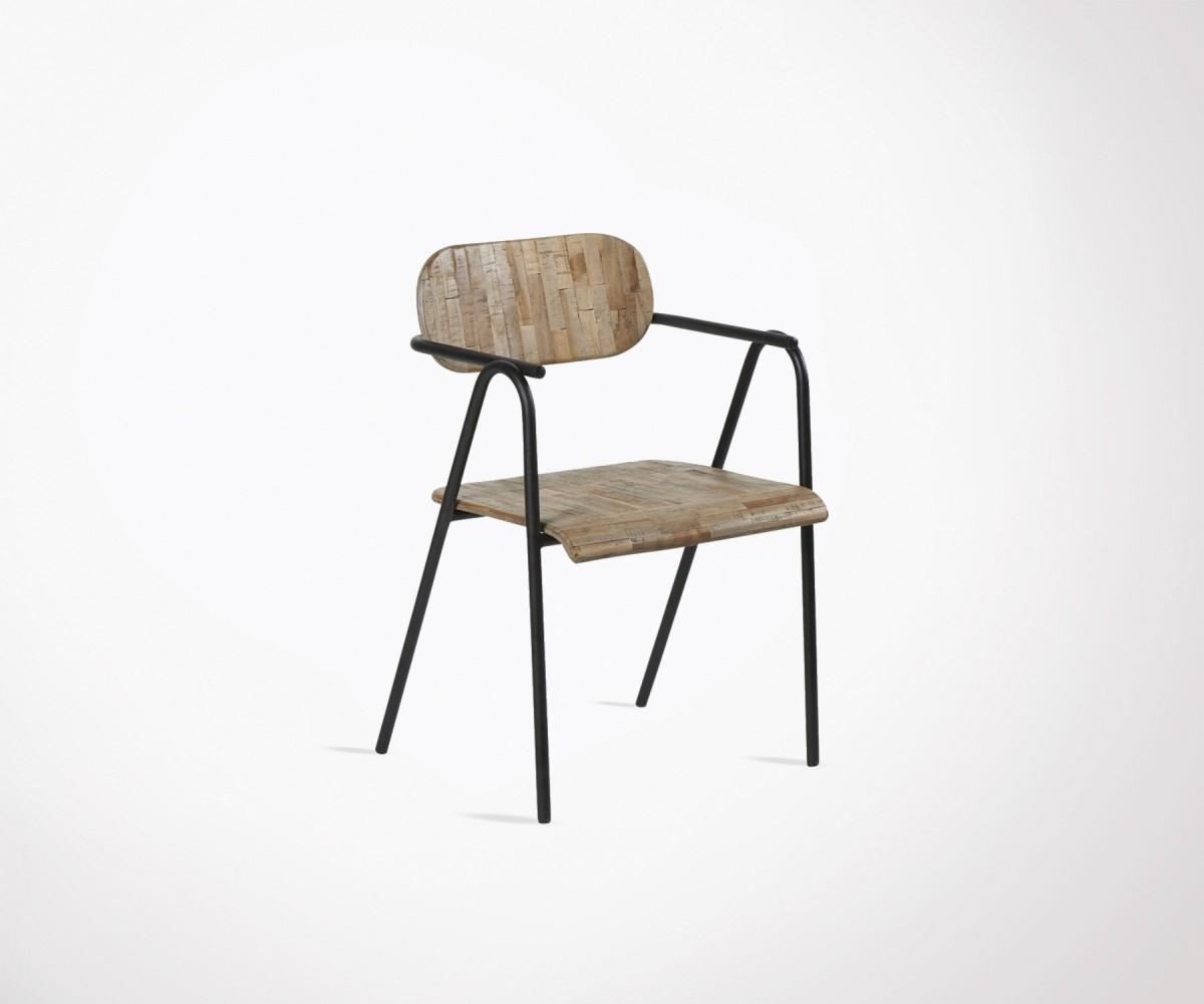 Chaise extérieur teck et fer style moderne marque Hanjel