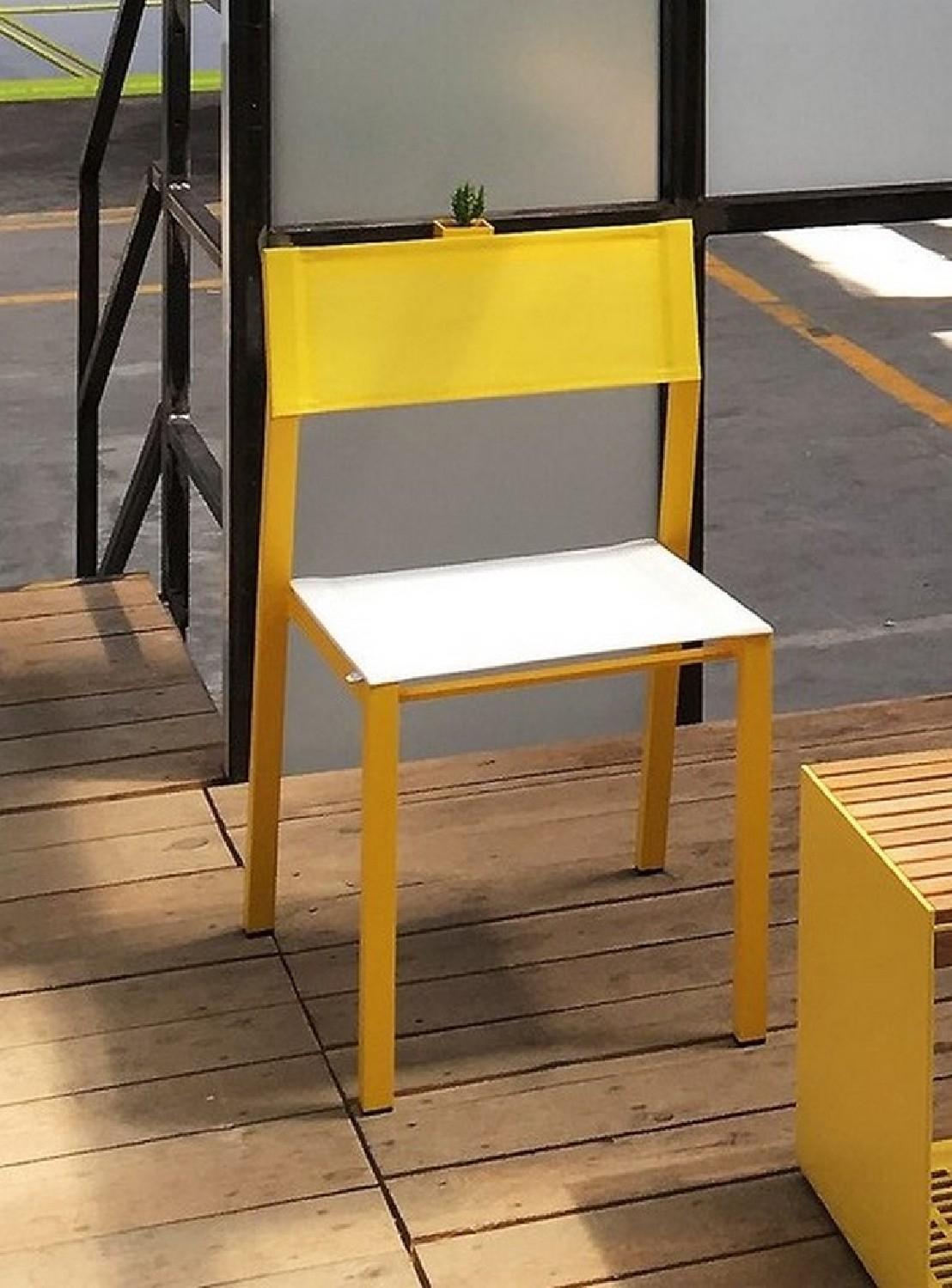 Chaise CORA extérieur de jardin en métal aluminium de