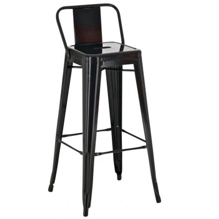 Chaise de bar en métal de couleur noire H 96 x L 44 x P