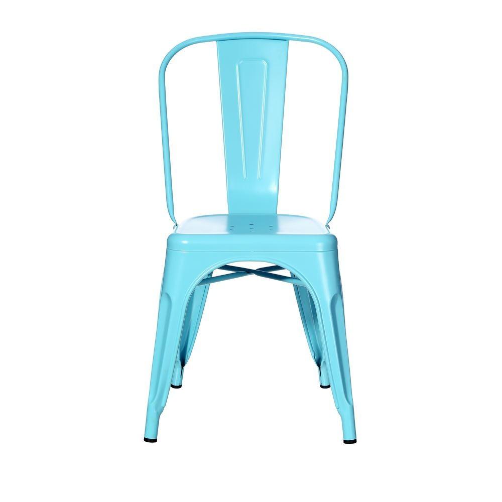 Chaise en métal esprit industriel de couleur bleu