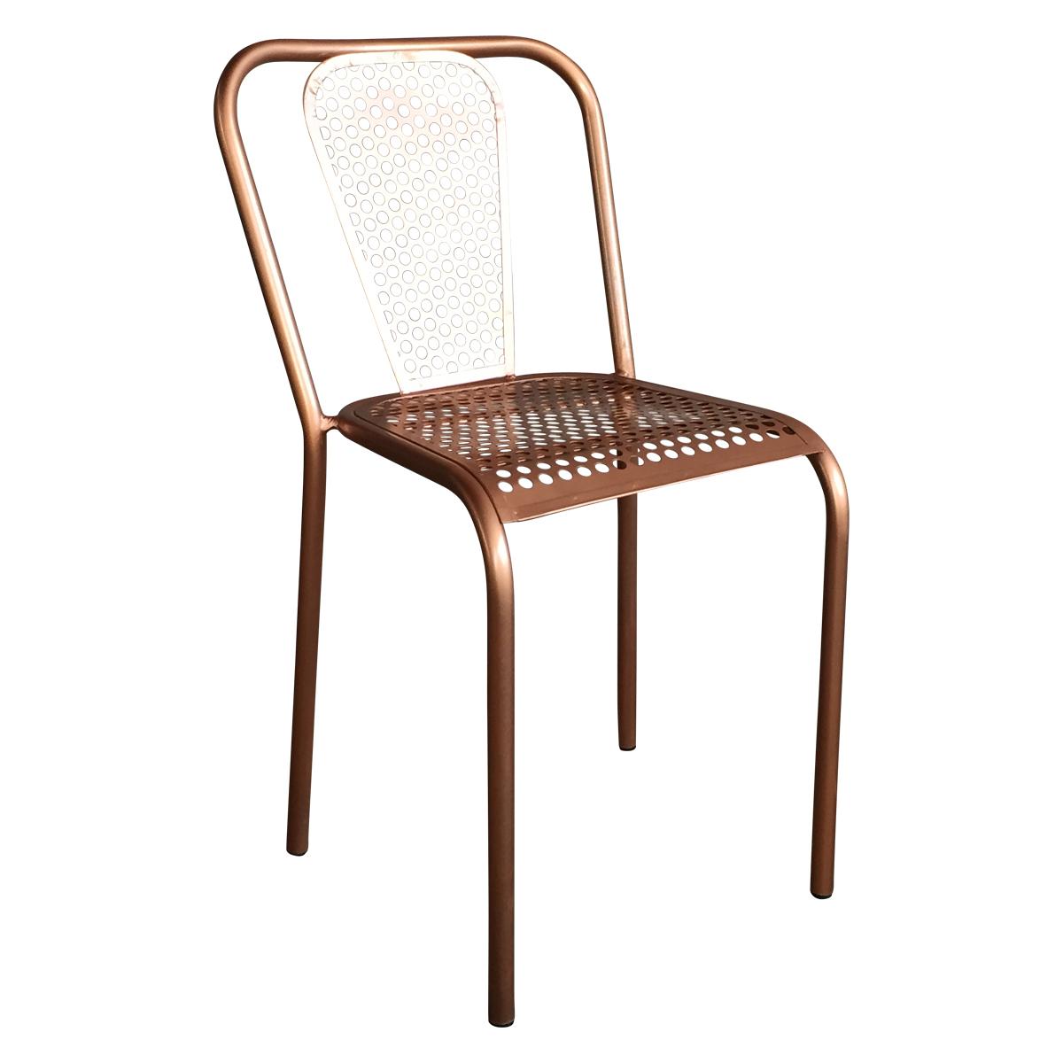 Chaise en métal style vintage couleur cuivrée Demeure et