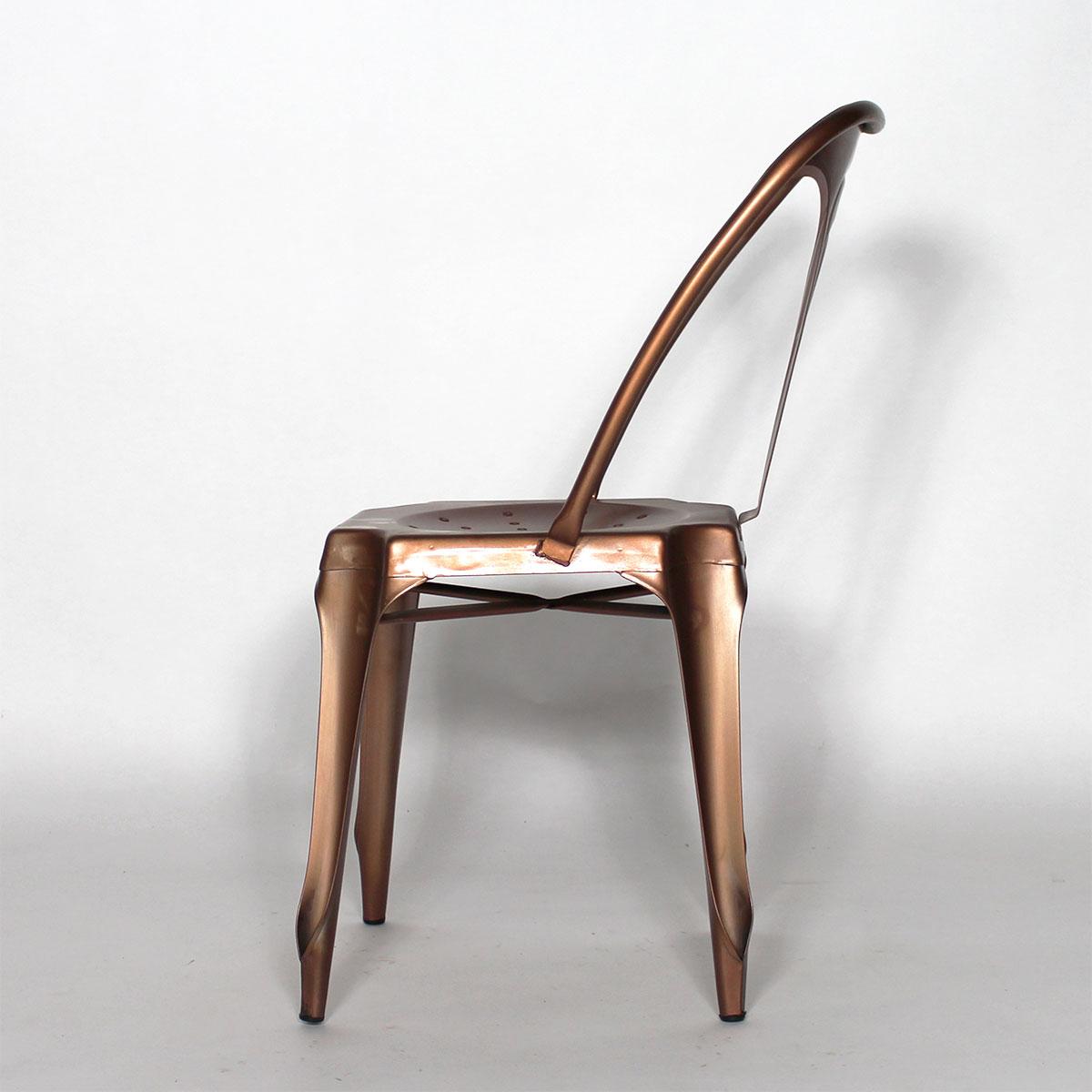 Chaise industrielle métal couleur cuivre Made in Meubles