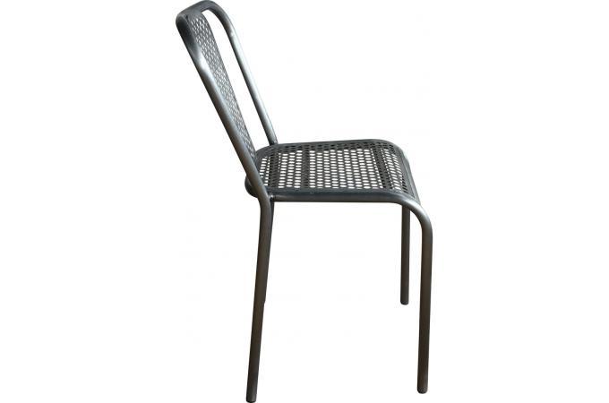 Chaise Style Vintage En Métal Couleur Argent SARGON