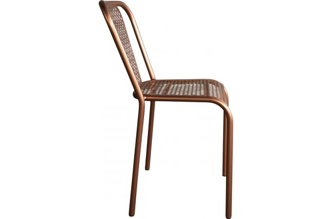 Chaise Style Vintage En Métal Couleur Cuivré SARGON