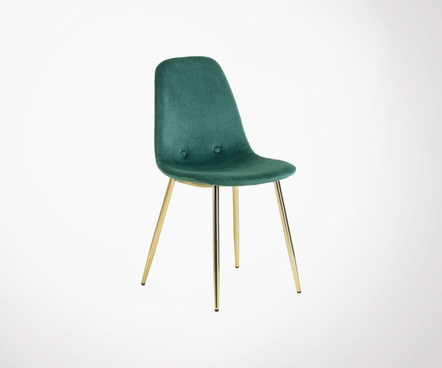 Chaise velours pieds métal doré style moderne Plusieurs