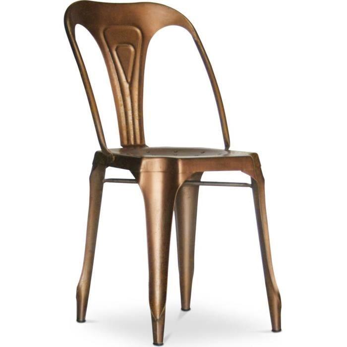 Chaise Vintage Multipl s Métal Lot de 4 Bronze Achat