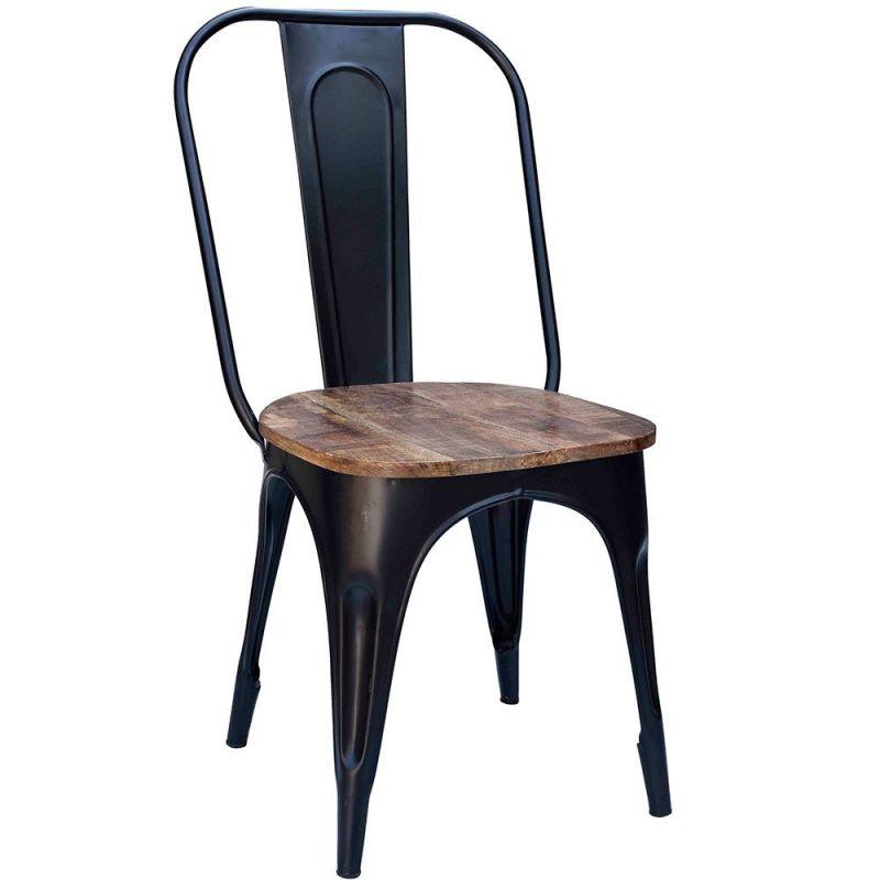 Chaises métal industrielle assise bois 4 couleurs disponibles