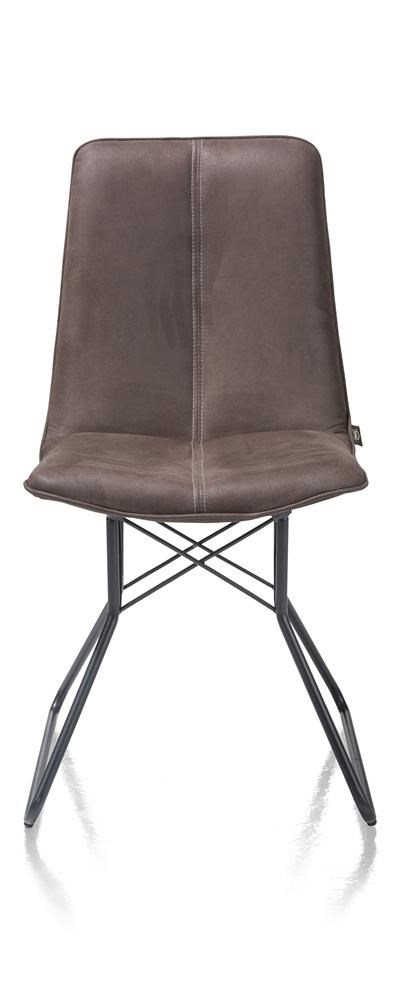 Lisa chaise pied metal couleur off black Kibo cognac