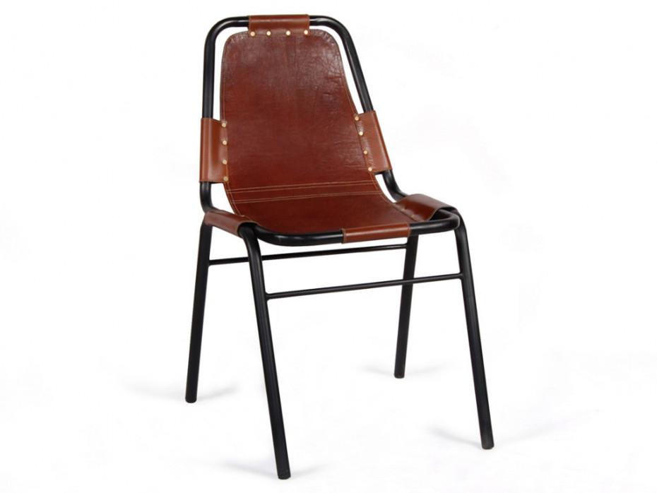 Lot de 2 chaises INDIANOLA Cuir & Métal Caramel