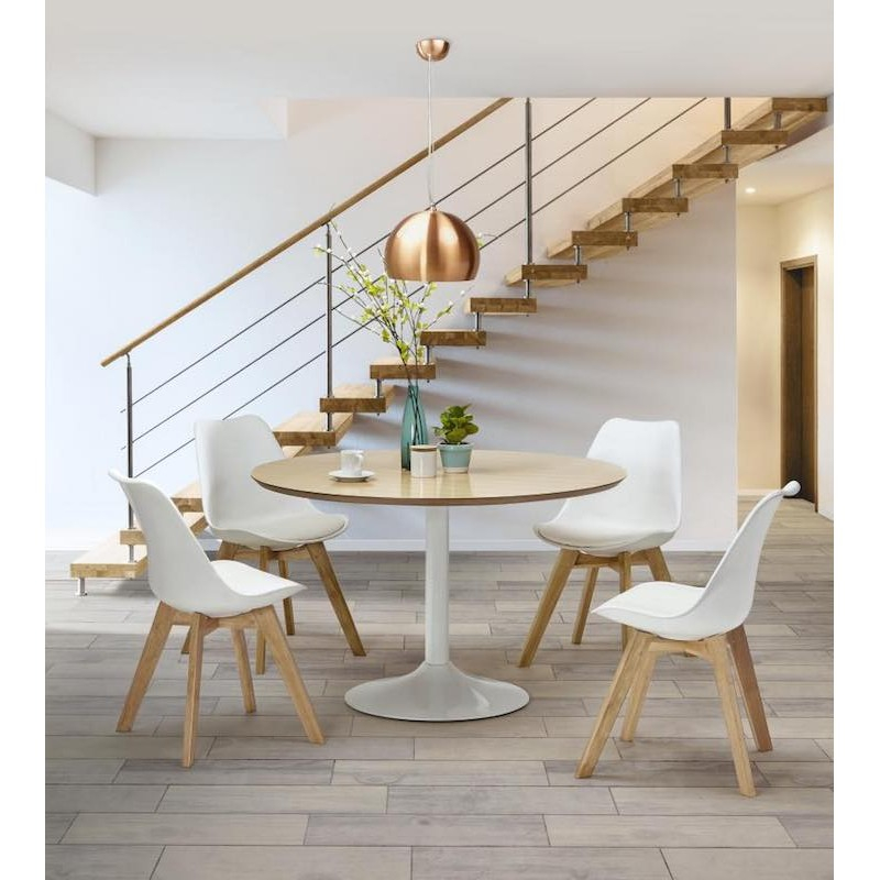 Chaise contemporaine style scandinave FJORD blanc