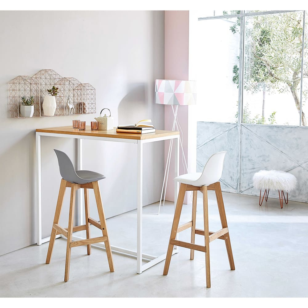 Chaise de bar style scandinave blanche et chêne Ice