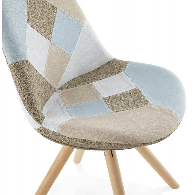 Chaise patchwork style scandinave BOHEME en tissu bleu