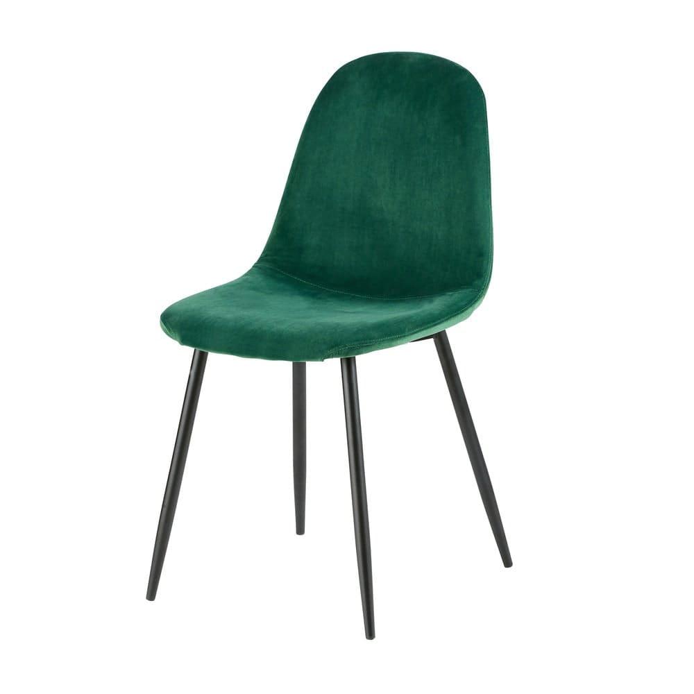 Chaise style scandinave en velours vert sapin
