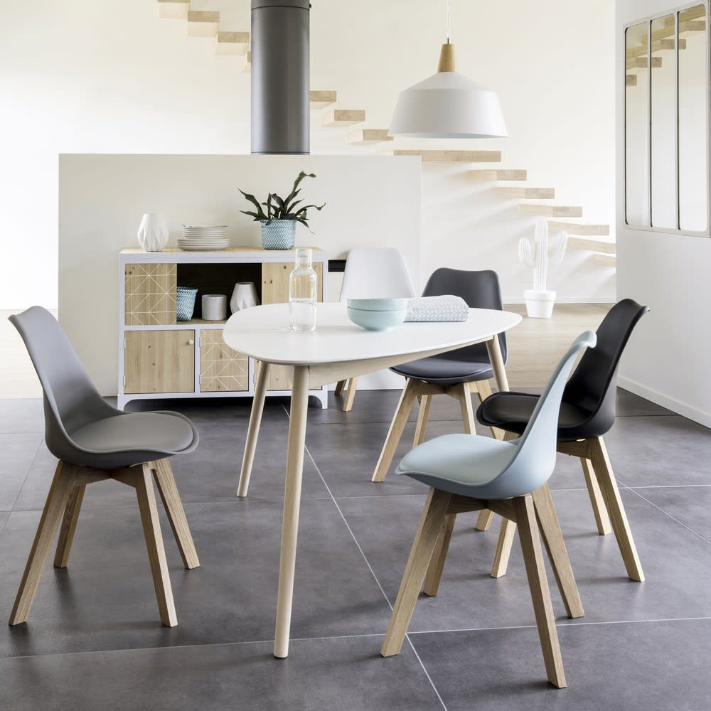 Chaise style scandinave noire et chêne Ice