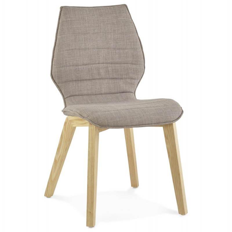 Chaise vintage style scandinave MARTY en tissu gris