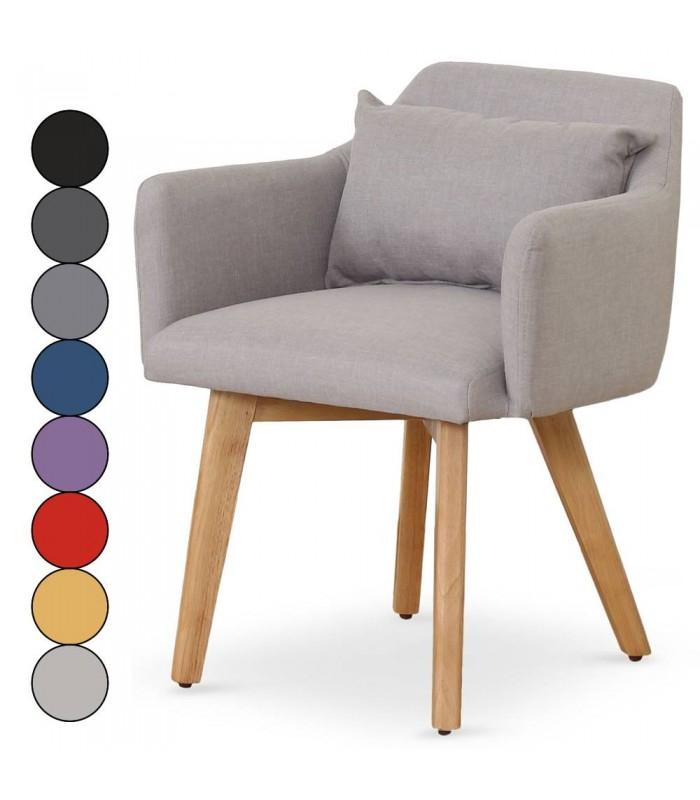 Fauteuil chaise style scandinave en tissu et pieds en bois