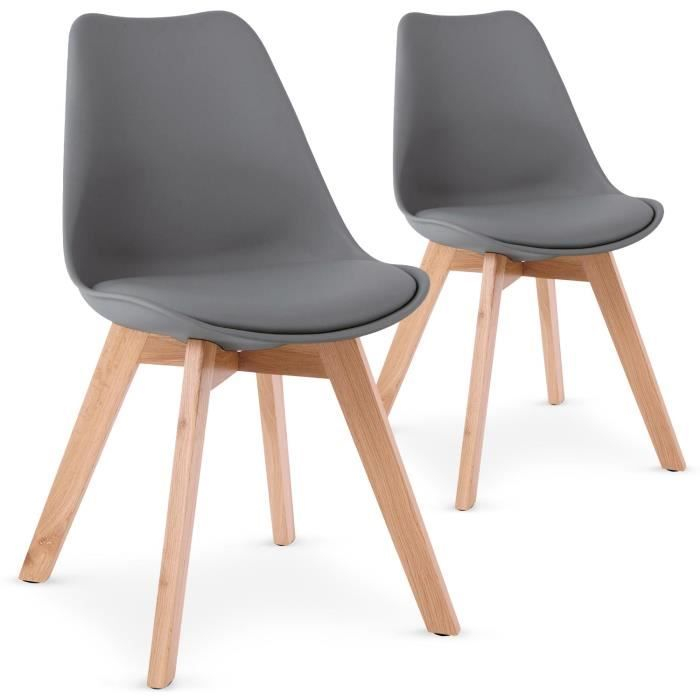 Lot de 2 chaises style scandinave Bovary Gris Achat