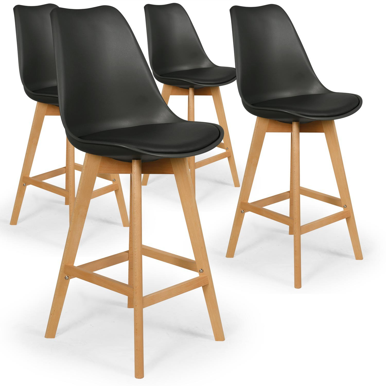 Lot de 4 chaises hautes style scandinave Catherina Noir