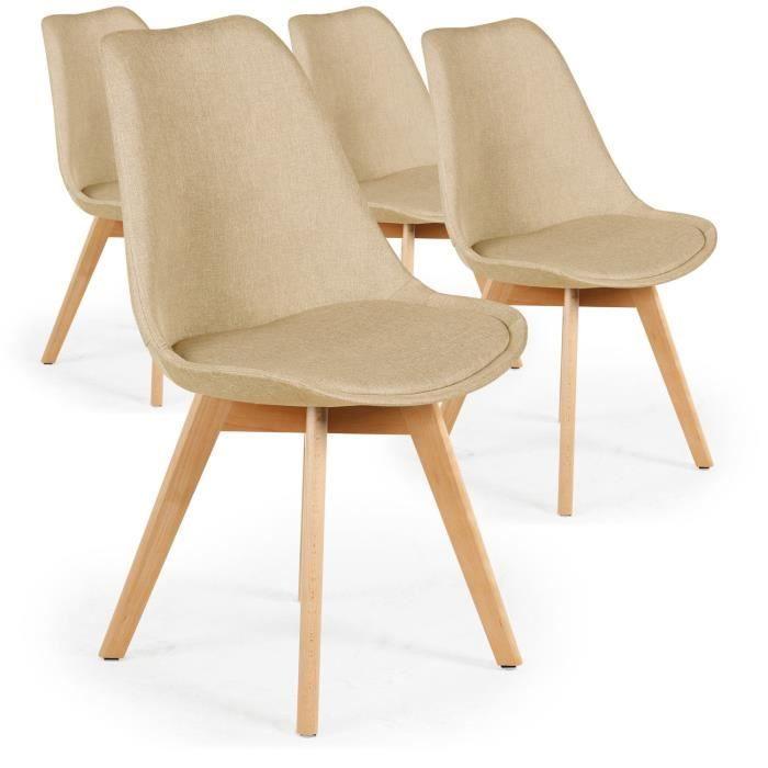 Chaise Style Scandinave Lot De 4 Chaises Scandinaves Conor Tissu Beige Achat