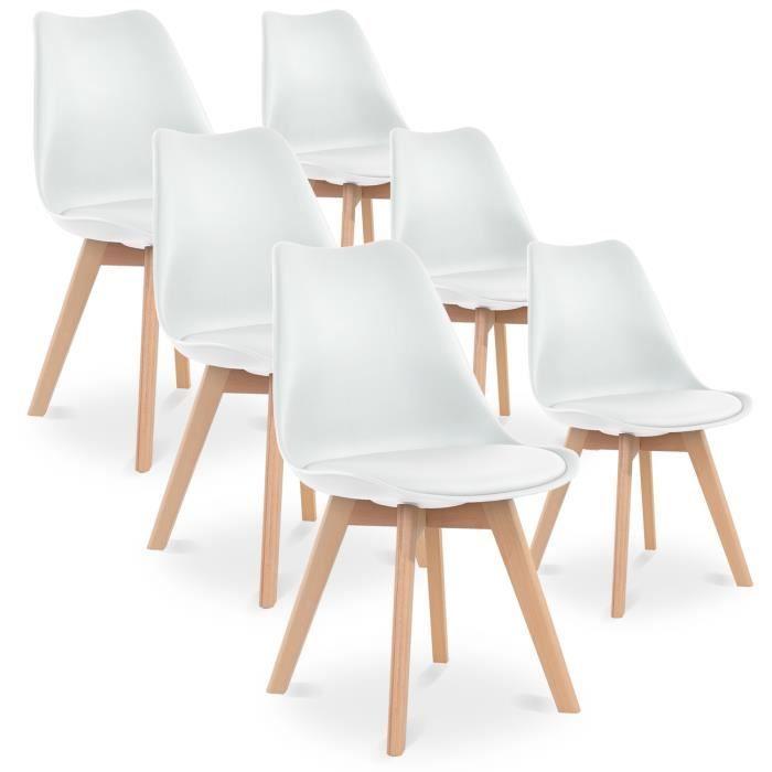 Lot de 6 chaises style scandinave Catherina Blanc Achat
