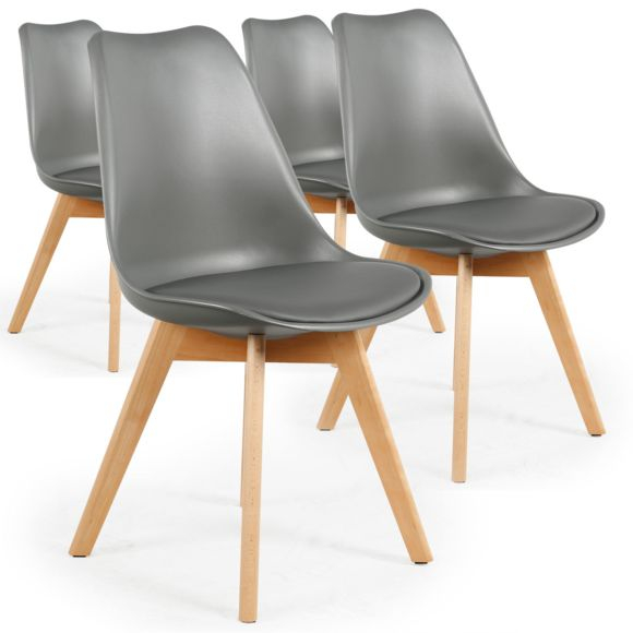MENZZO Lot de 4 chaises style scandinave Bovary Gris