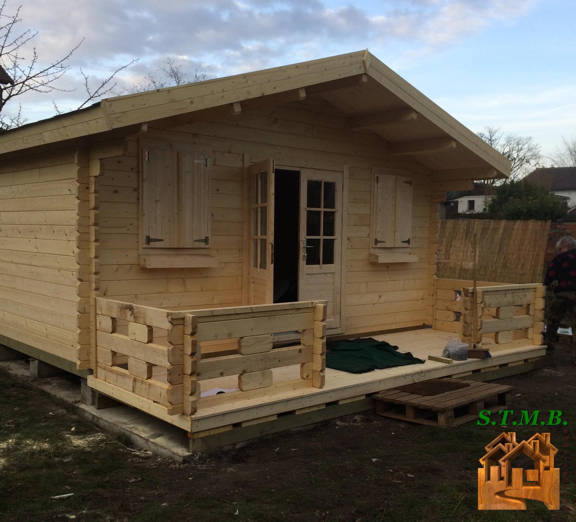 chalet de jardin en kit MURIER 20 m² en madriers de 44 mm