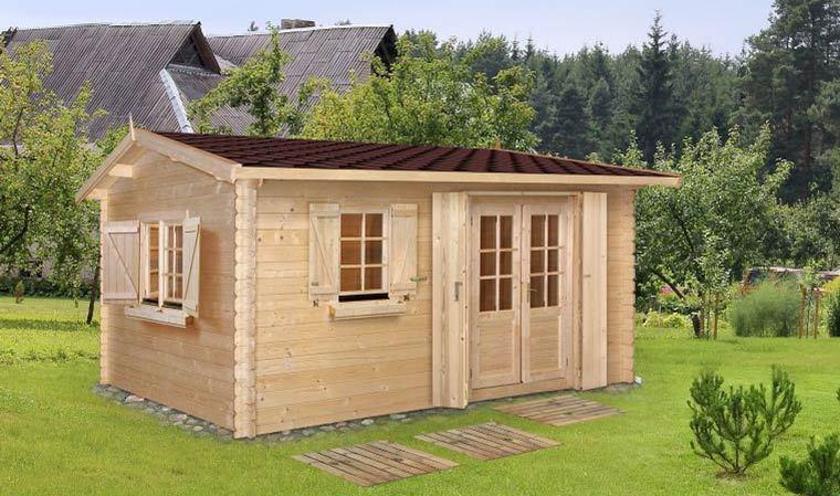 Grand chalet de jardin en bois avec plancher et shingle 18 m2