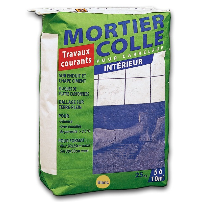 Colle carrelage travaux courants blanc