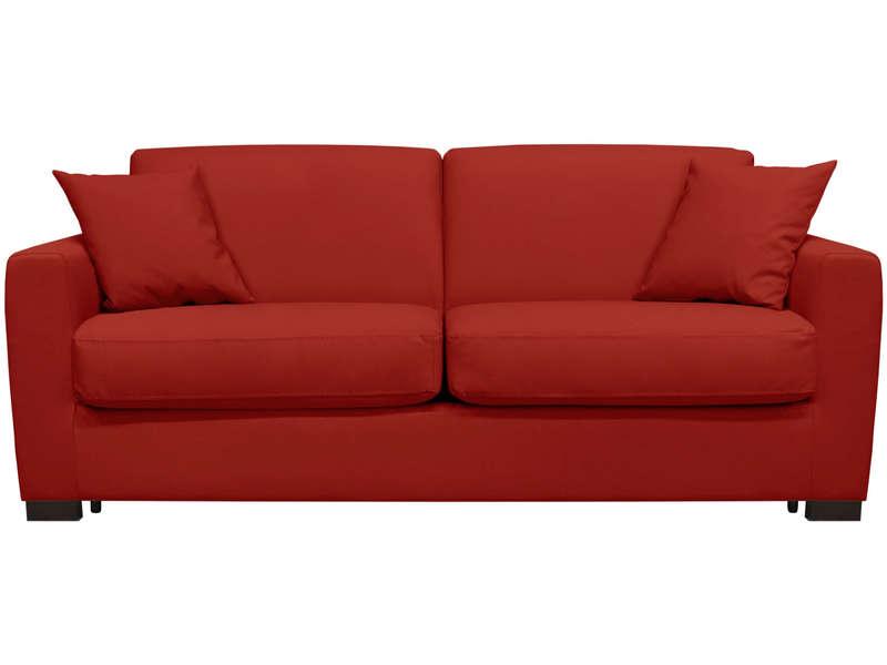Canapé convertible 3 places en cuir SOFLIT 2 coloris rouge