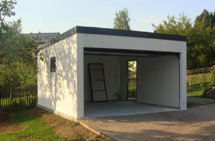 Construction Garage toit Plat Garage Métallique toit Plat Crépis 2 Voitures Porte Large