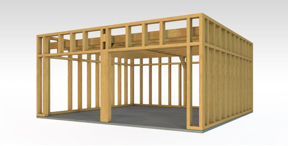 Construction Garage toit Plat Garage Ossature Bois Bois Et Passion