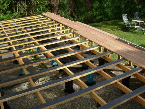 Kinderzimmers Poser une terrasse en bois sur pelouse